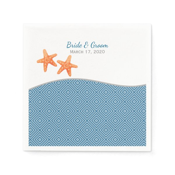 Nautical Starfish Wedding Paper Napkin
