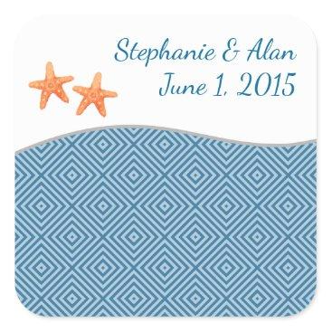 Beach Themed Nautical Starfish Wedding Stickers