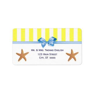 Nautical Starfish Yellow White Stripe H Address Labels