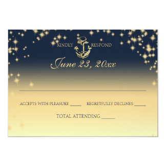 Nautical Starry Sky Twinkle Wedding Response Card