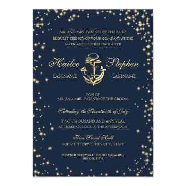 Beach Themed Nautical Starry Sky Wedding Card