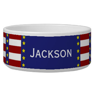 Nautical Stars and Stripes Personalized Pet Bowl