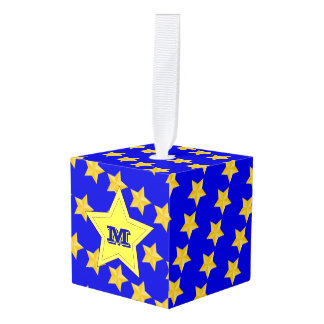 Nautical Stars Monogrammed Cube Ornament