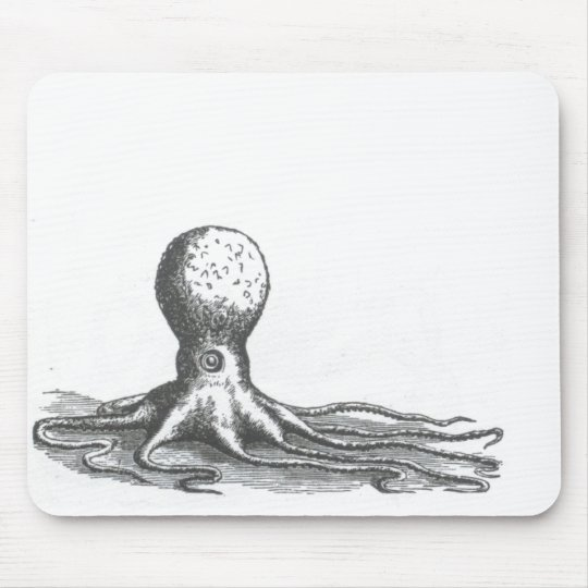 Nautical steampink vintage octopus book drawing mouse pad
