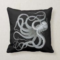 Nautical steampunk octopus antique vintage kraken throw pillow