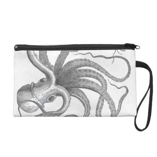 Nautical steampunk octopus vintage book drawing wristlet clutches