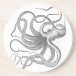 Nautical steampunk octopus Vintage book drawing Beverage Coaster
