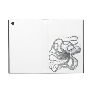 Nautical steampunk octopus vintage book drawing cover for iPad mini