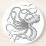Nautical steampunk octopus Vintage book drawing Drink Coaster