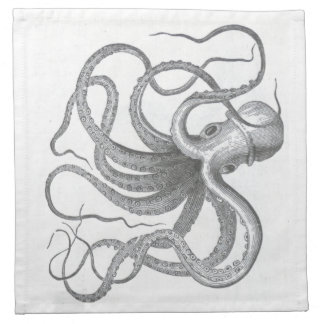 Nautical steampunk octopus Vintage book drawing Napkin