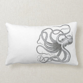 Nautical steampunk octopus Vintage book drawing Pillow