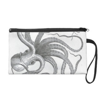 Nautical steampunk octopus vintage book drawing wristlet purse