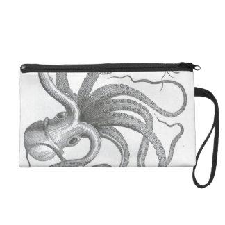 Nautical steampunk octopus vintage book drawing wristlet purse