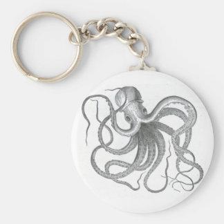 Nautical steampunk octopus vintage design keychain
