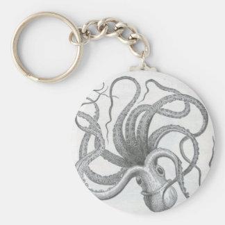 Nautical steampunk octopus vintage design basic round button keychain
