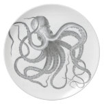 Nautical steampunk octopus vintage drawing dish dinner plate