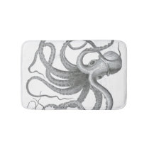 Nautical steampunk octopus Vintage kraken decor Bath Mat