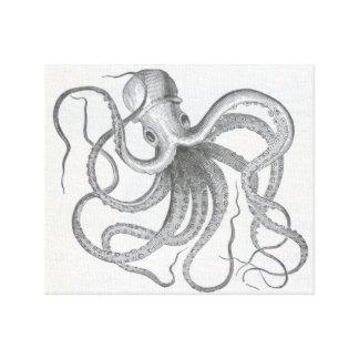 Nautical steampunk octopus vintage kraken drawing canvas prints