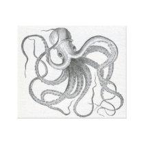Nautical steampunk octopus vintage kraken drawing canvas print