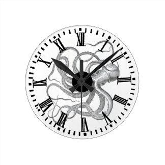 Nautical steampunk octopus vintage kraken drawing wall clocks