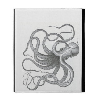 Nautical steampunk octopus vintage kraken drawing iPad folio covers