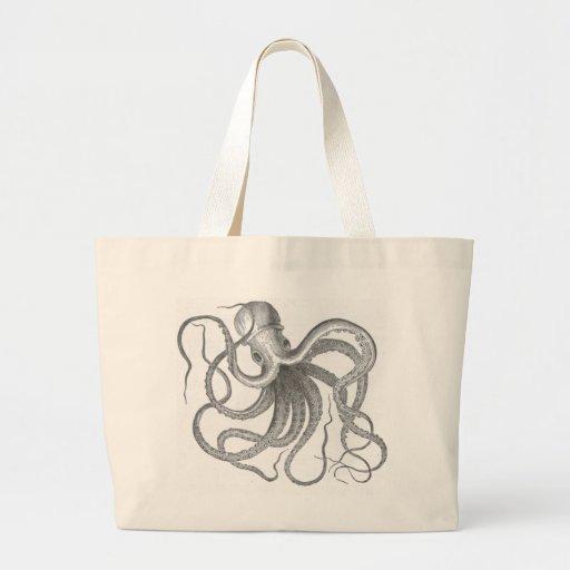 Nautical steampunk octopus vintage kraken drawing large tote bag
