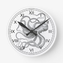 Nautical steampunk octopus vintage kraken drawing round clock