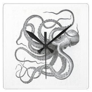 Nautical steampunk octopus Vintage kraken drawing Square Wall Clock