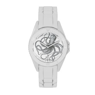 Nautical steampunk octopus vintage kraken drawing wrist watches