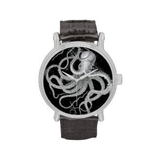 Nautical steampunk octopus vintage kraken drawing wristwatch