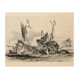 Nautical steampunk octopus vintage kraken drawing wood print