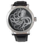 Nautical steampunk octopus vintage kraken drawing wrist watch