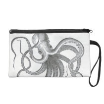 Nautical steampunk octopus vintage kraken drawing wristlet purse