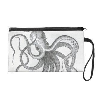 Nautical steampunk octopus vintage kraken drawing wristlet purse
