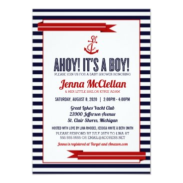 Beach Themed Nautical Stripe & Anchor Baby Shower Invitation