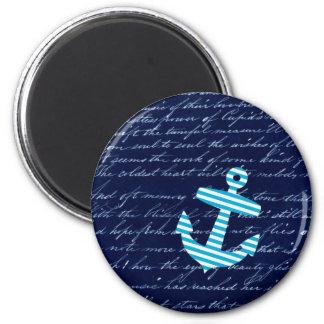 Nautical Stripe anchor handwriting design 2 Inch Round Magnet