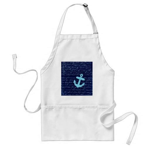 Nautical Stripe anchor handwriting design Adult Apron