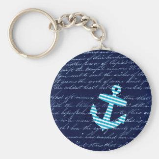 Nautical Stripe anchor handwriting design Basic Round Button Keychain