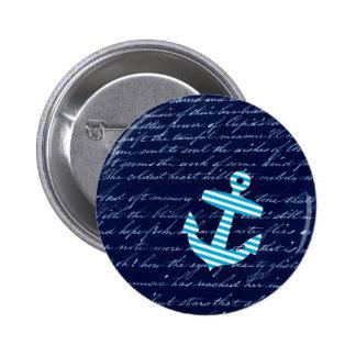 Nautical Stripe anchor handwriting design 2 Inch Round Button