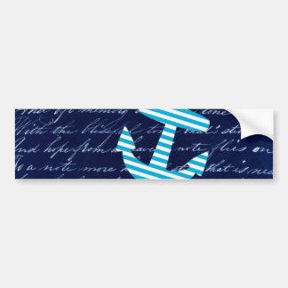 Nautical Stripe anchor handwriting design Car Bumper Sticker