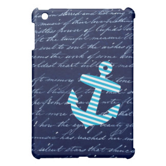 Nautical Stripe anchor handwriting design iPad Mini Cover