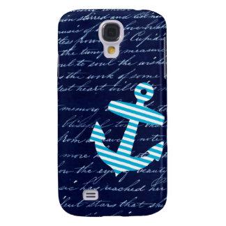 Nautical Stripe anchor handwriting design Samsung Galaxy S4 Cover