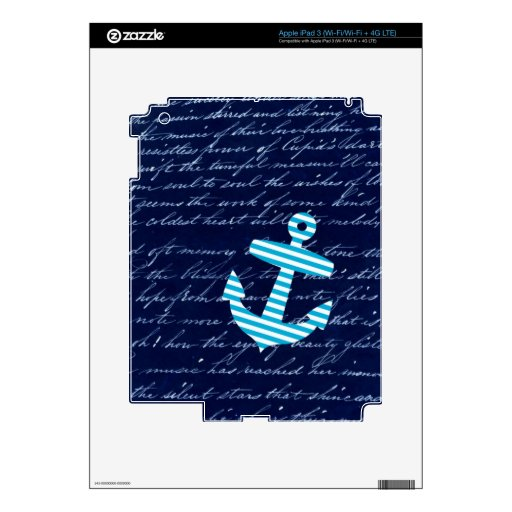 Nautical Stripe anchor handwriting design Skin For iPad 3