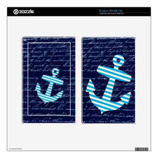 Nautical Stripe anchor handwriting design Skins For Kindle Fire