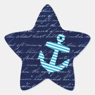 Nautical Stripe anchor handwriting design Star Sticker