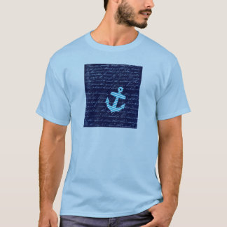 Nautical Stripe anchor handwriting design T-Shirt