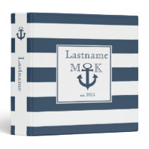 Nautical Stripe and Anchor Navy Blue Binder