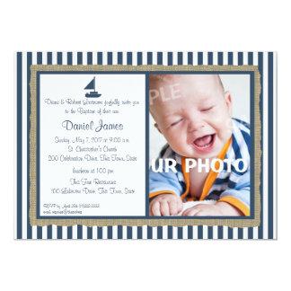 Nautical Stripe and Sailboat Baptism Card