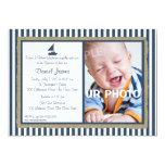 "Nautical Stripe and Sailboat Baptism 5"" X 7"" Invitation Card"