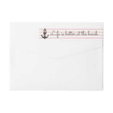 Beach Themed Nautical Stripe Blush Pink & Anchor Return Address Wrap Around Label